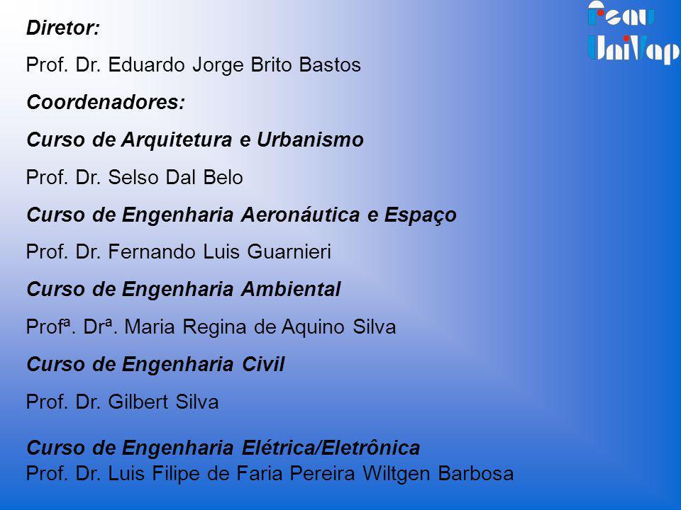 Diretor: Prof. Dr. Eduardo Jorge Brito Bastos. Coordenadores: Curso de Arquitetura e Urbanismo. Prof. Dr. Selso Dal Belo.
