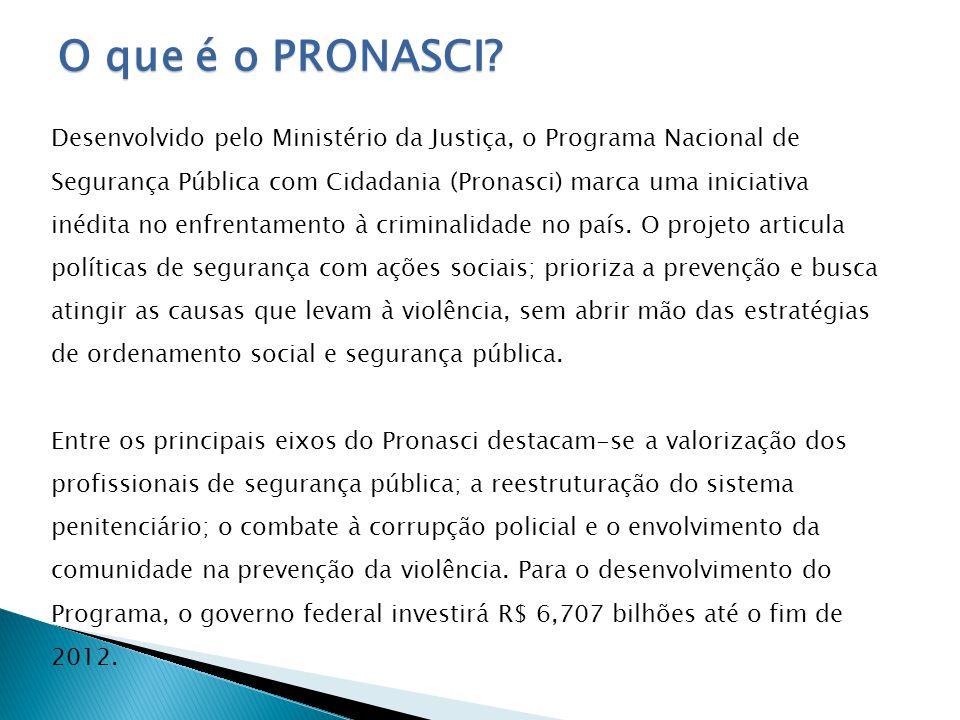 O que é o Pronasci Pronasci inova no enfrentamento ao crime