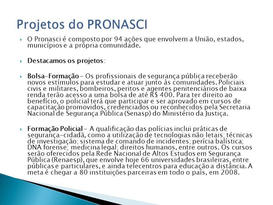 Projetos do PRONASCI O Pronasci é composto por 94 ações que envolvem a União, estados, municípios e a própria comunidade.
