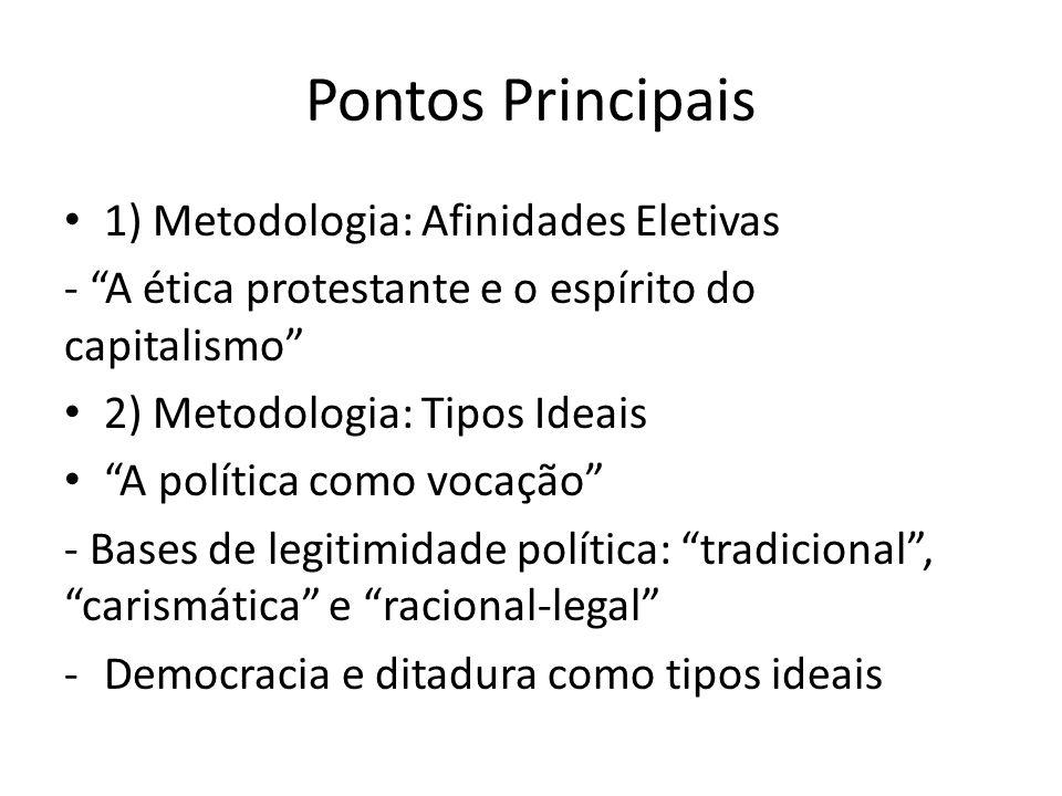 Pontos Principais 1) Metodologia: Afinidades Eletivas