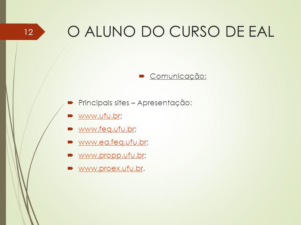 O ALUNO DO CURSO DE EAL Comunicação: Principais sites – Apresentação:
