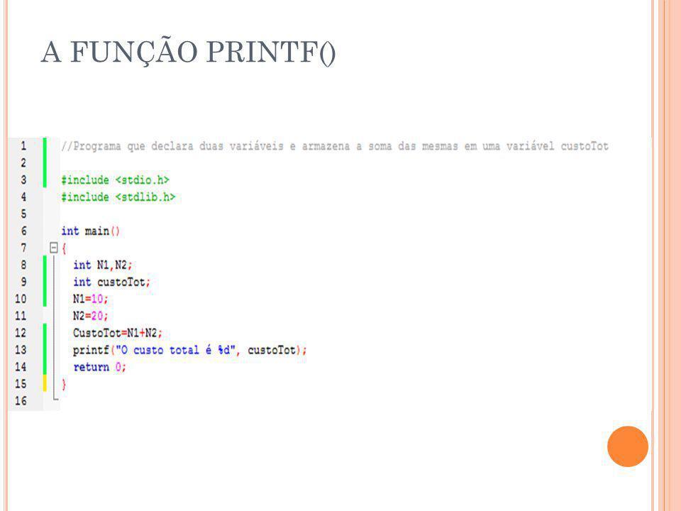 A FUNÇÃO PRINTF()