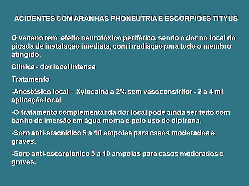 ACIDENTES COM ARANHAS PHONEUTRIA E ESCORPIÕES TITYUS