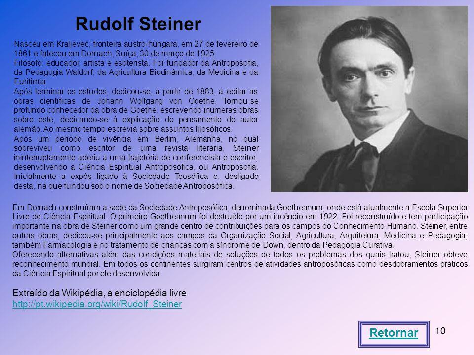 Rudolf Steiner Retornar Extraído da Wikipédia, a enciclopédia livre