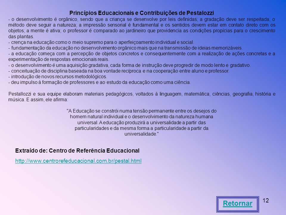 Princípios Educacionais e Contribuições de Pestalozzi