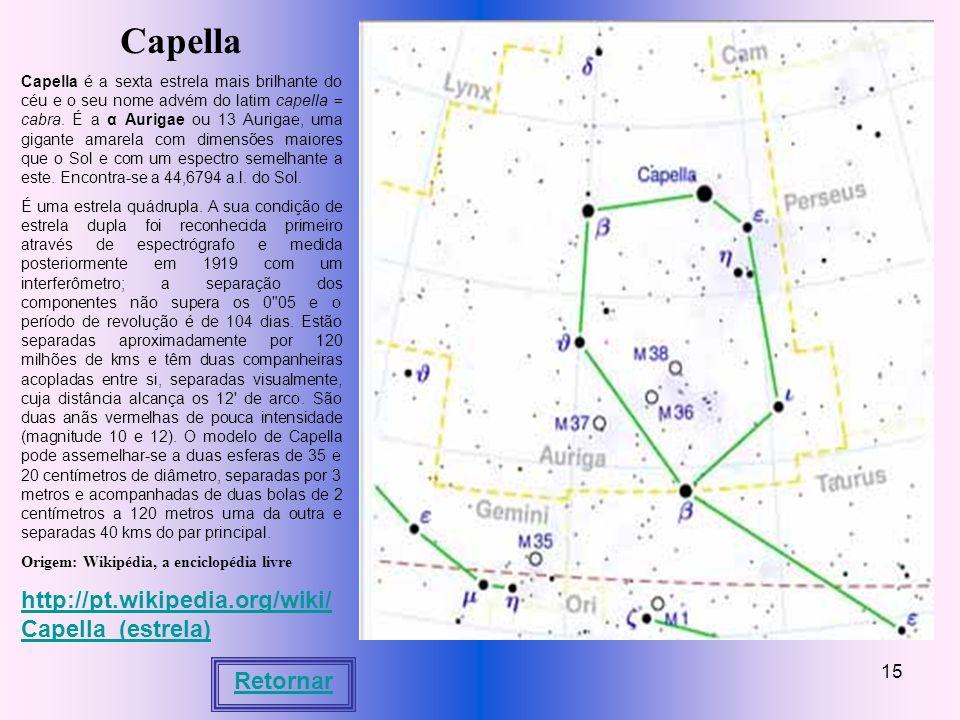 Capella http://pt.wikipedia.org/wiki/Capella_(estrela) Retornar