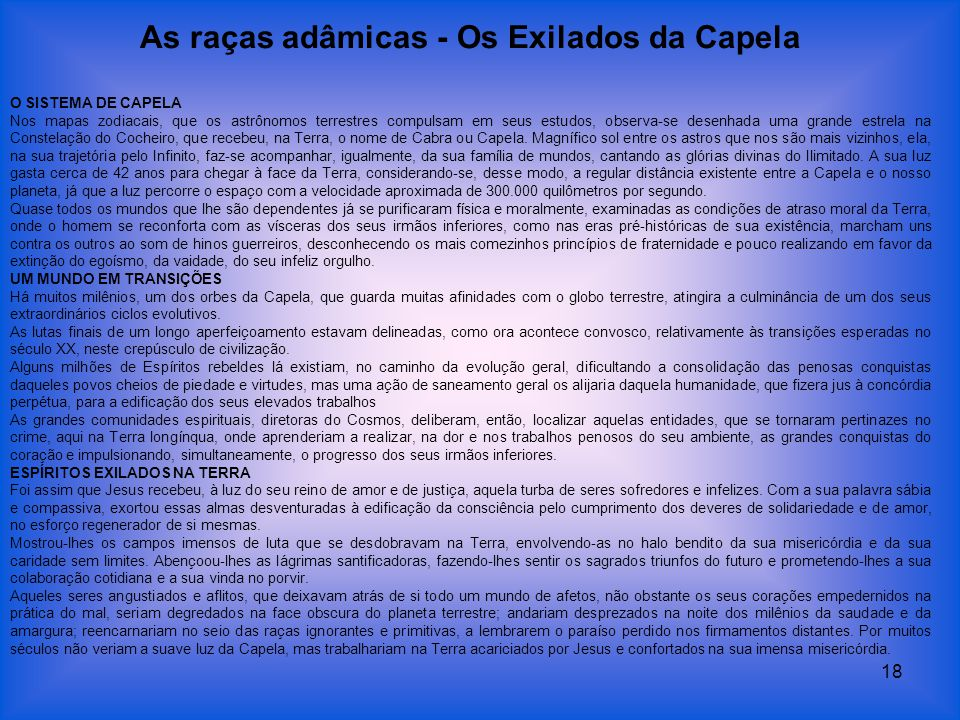As raças adâmicas - Os Exilados da Capela