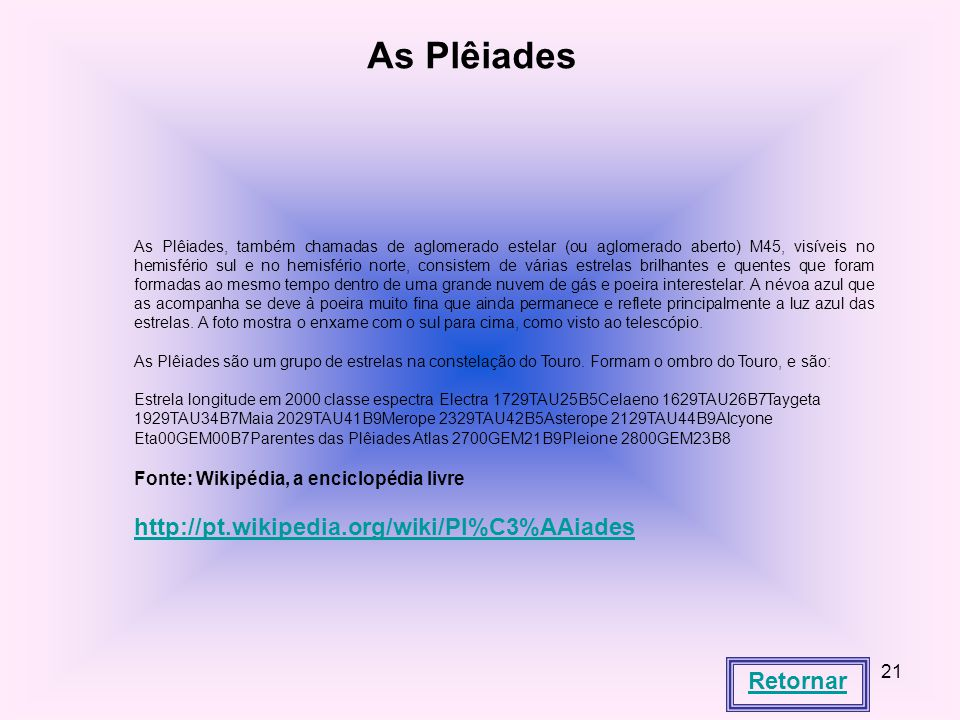 As Plêiades http://pt.wikipedia.org/wiki/Pl%C3%AAiades Retornar