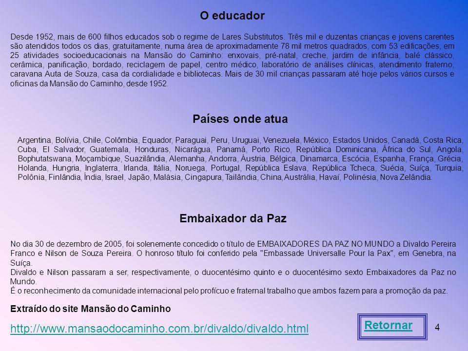 O educador Países onde atua Embaixador da Paz