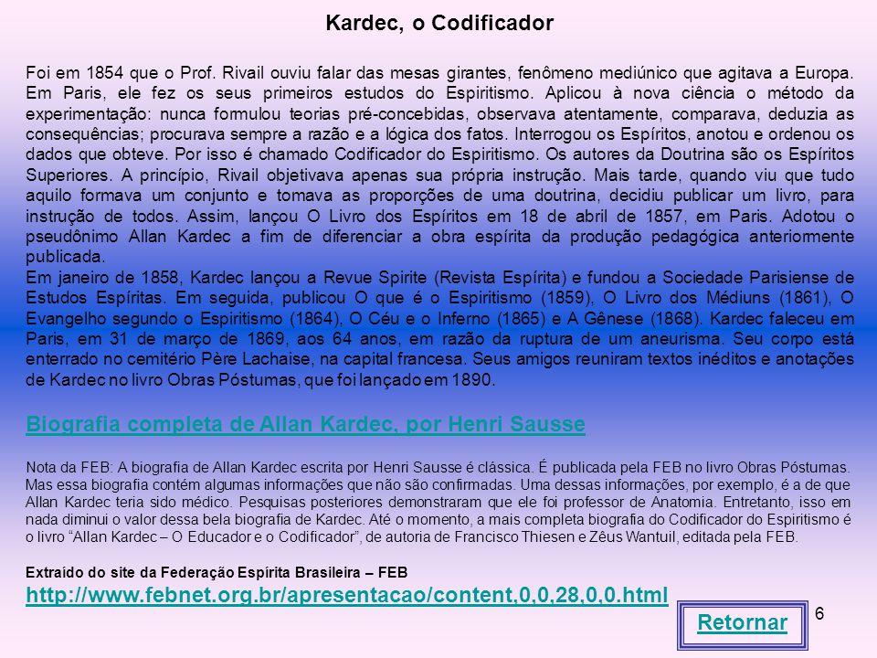 Kardec, o Codificador Retornar