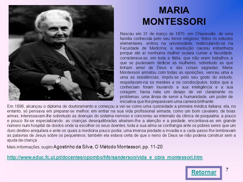 MARIA MONTESSORI Retornar