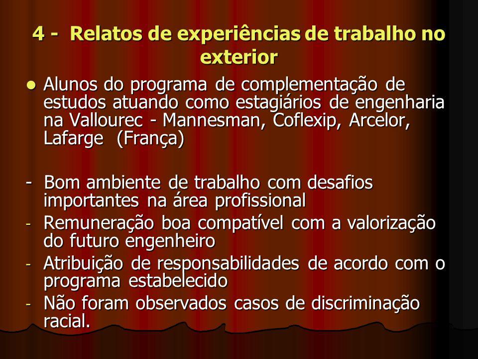 4 - Relatos de experiências de trabalho no exterior