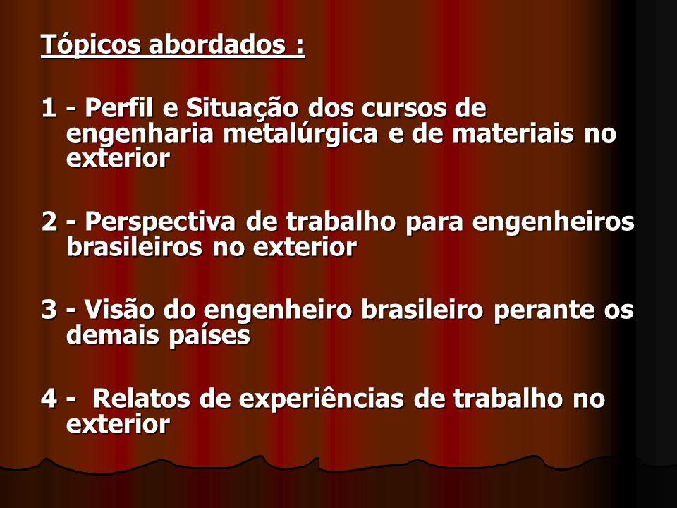 Tópicos abordados : 1 - Perfil e Situação dos cursos de engenharia metalúrgica e de materiais no exterior.