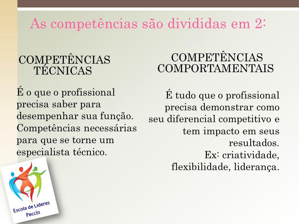 As competências são divididas em 2: