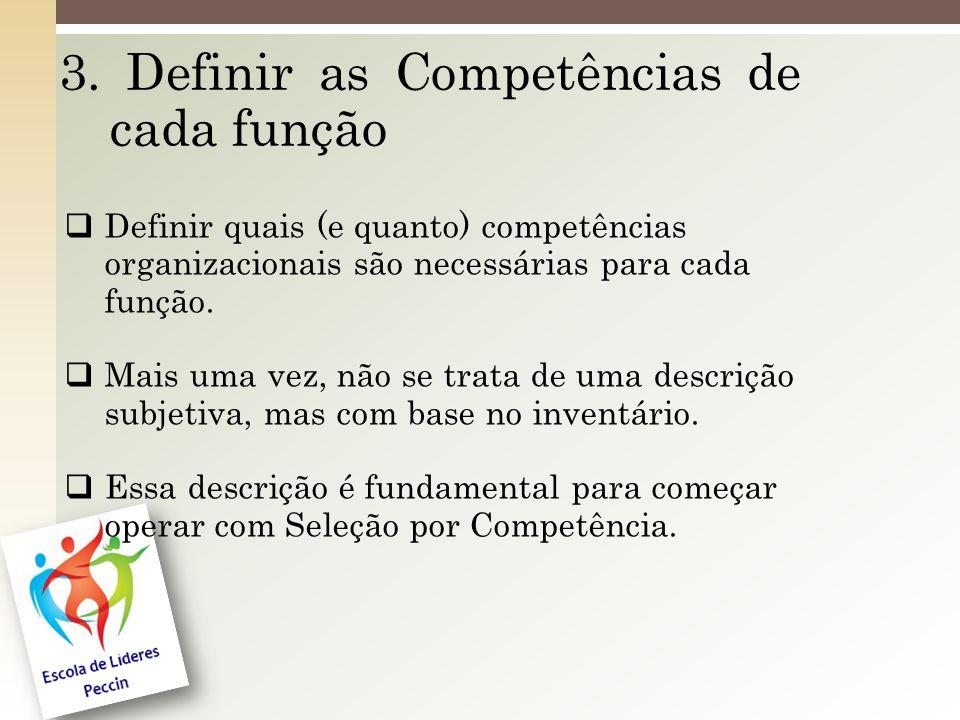 3. Definir as Competências de cada função