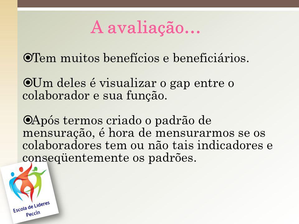 A avaliação… Tem muitos benefícios e beneficiários.