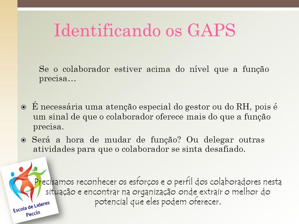 Identificando os GAPS Se o colaborador estiver acima do nível que a função precisa…