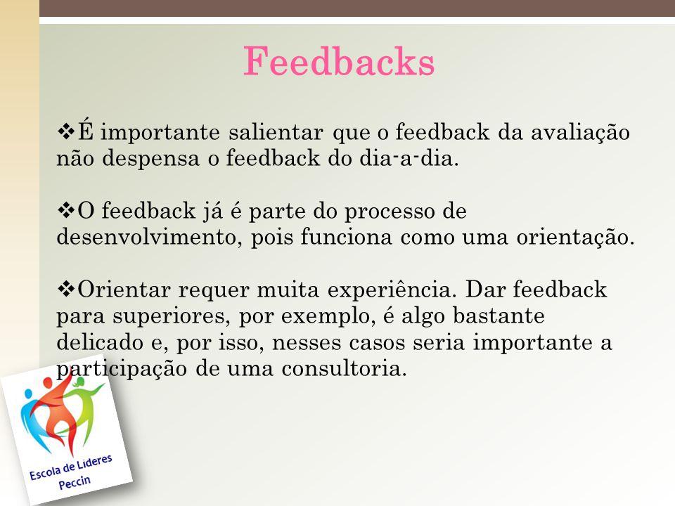 Feedbacks É importante salientar que o feedback da avaliação não despensa o feedback do dia-a-dia.