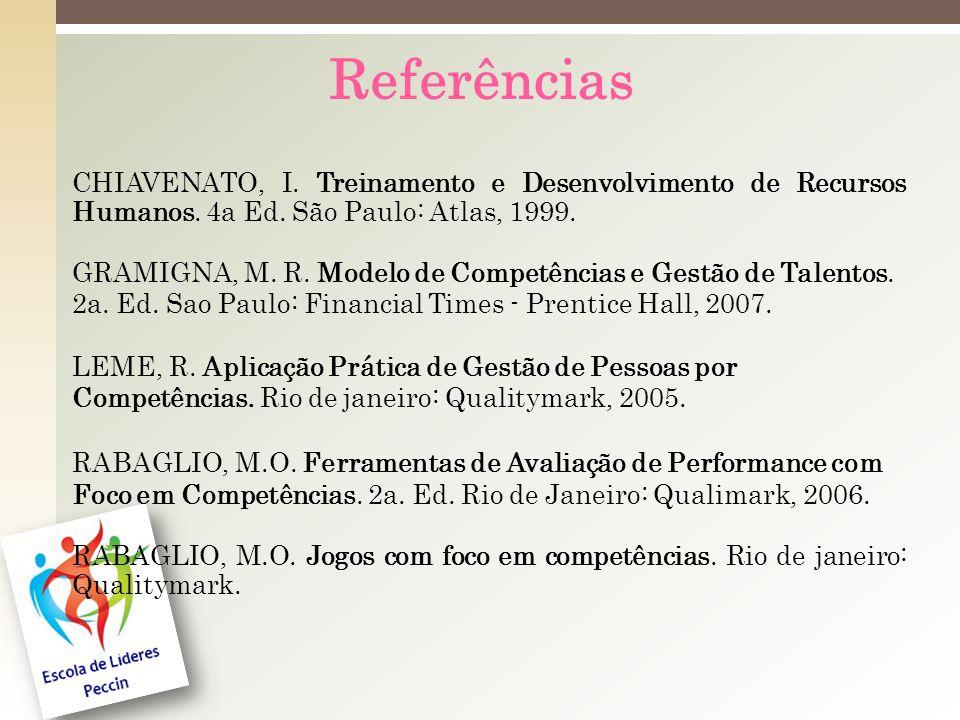 Referências CHIAVENATO, I. Treinamento e Desenvolvimento de Recursos Humanos. 4a Ed. São Paulo: Atlas, 1999.