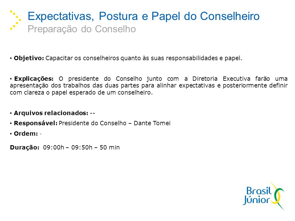 Expectativas, Postura e Papel do Conselheiro