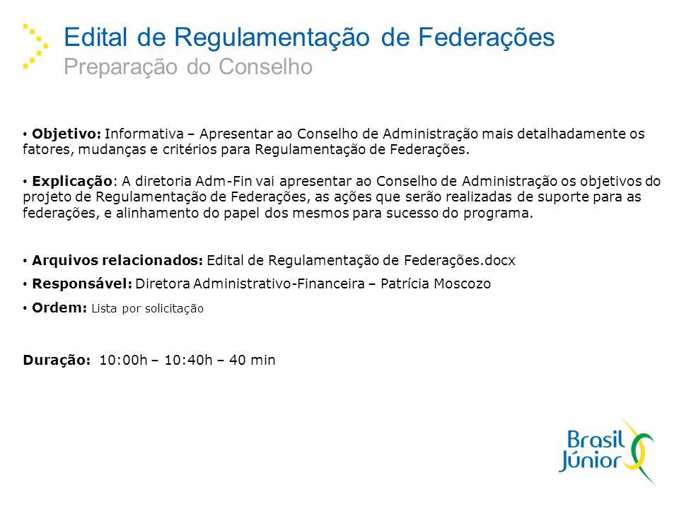 Edital de Regulamentação de Federações