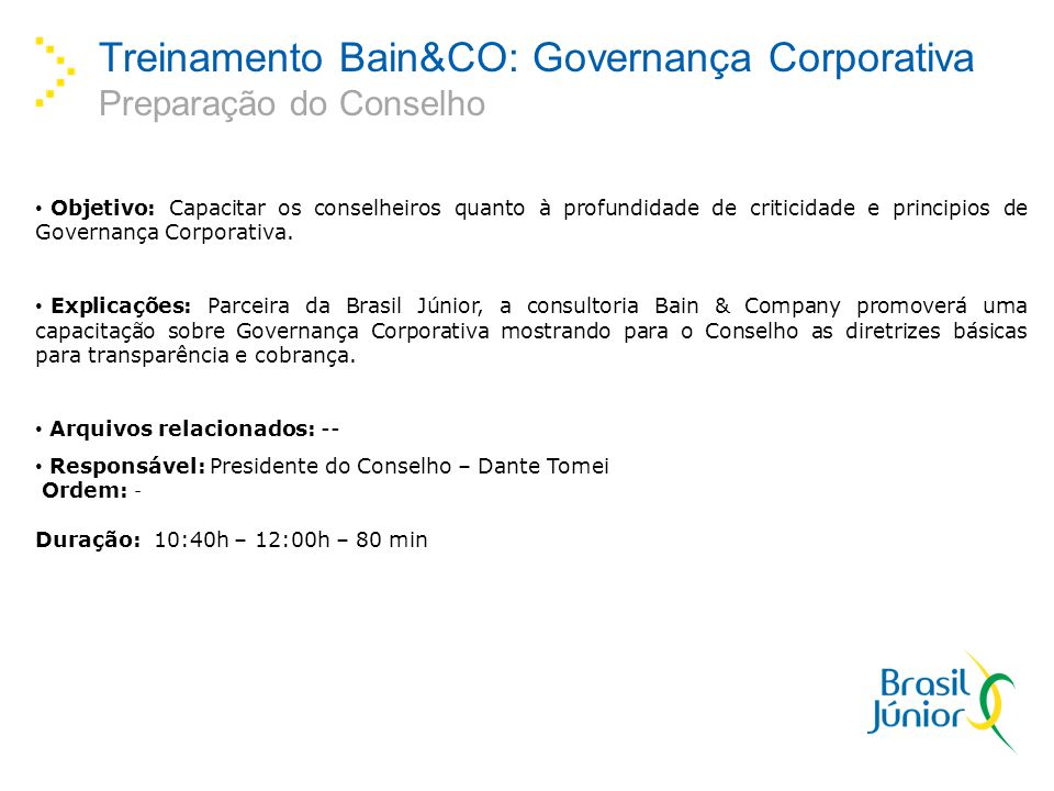 Treinamento Bain&CO: Governança Corporativa