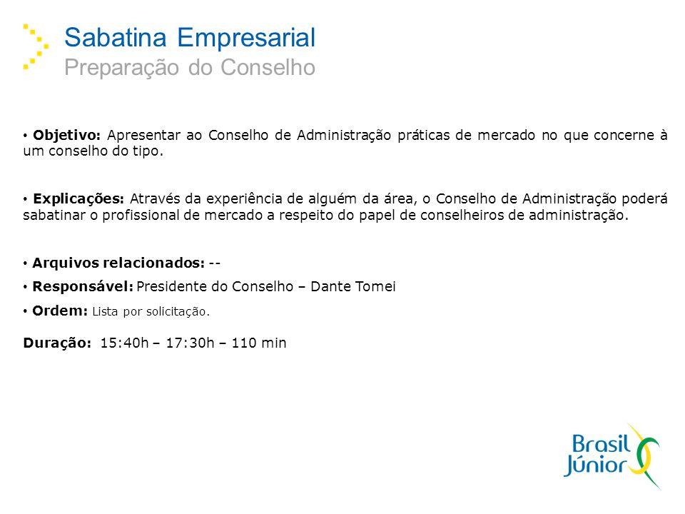Sabatina Empresarial Preparação do Conselho