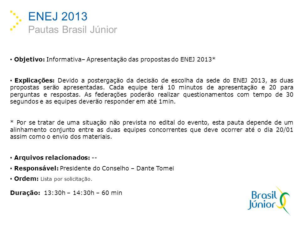 ENEJ 2013 Pautas Brasil Júnior