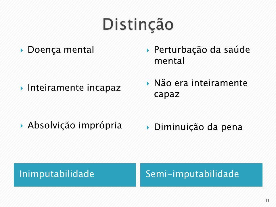 Distinção Doença mental Inteiramente incapaz Absolvição imprópria