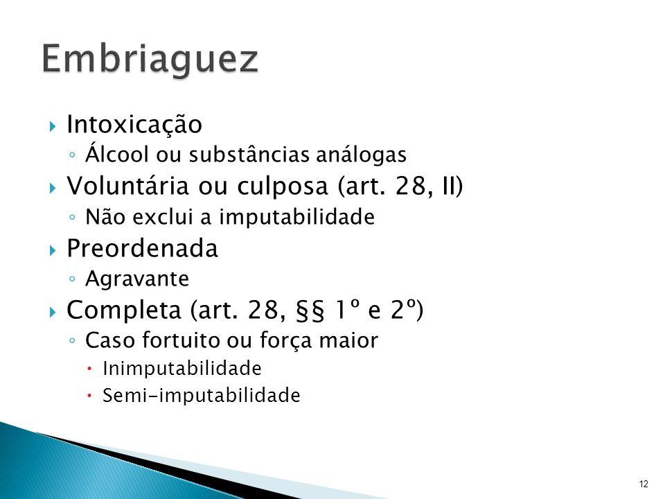 Embriaguez Intoxicação Voluntária ou culposa (art. 28, II) Preordenada