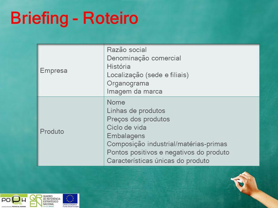 Briefing - Roteiro Empresa Razão social Denominação comercial História