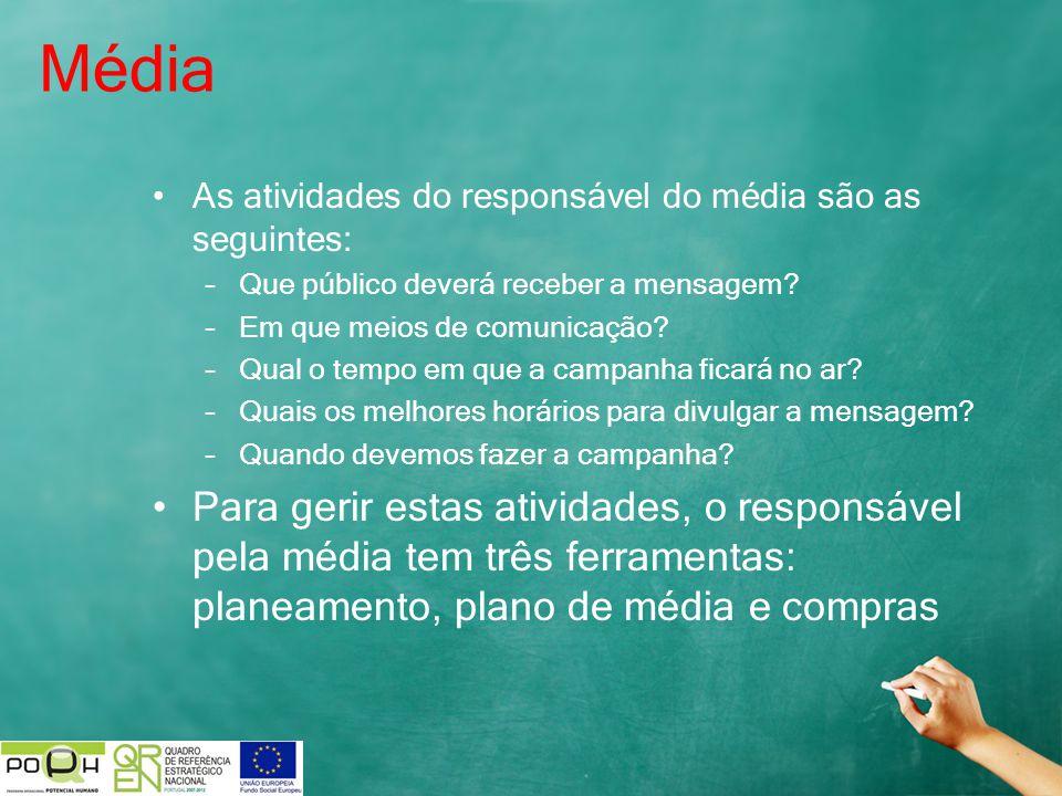 Média As atividades do responsável do média são as seguintes: Que público deverá receber a mensagem