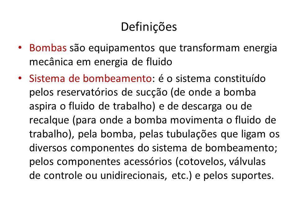 Definições Bombas são equipamentos que transformam energia mecânica em energia de fluido.