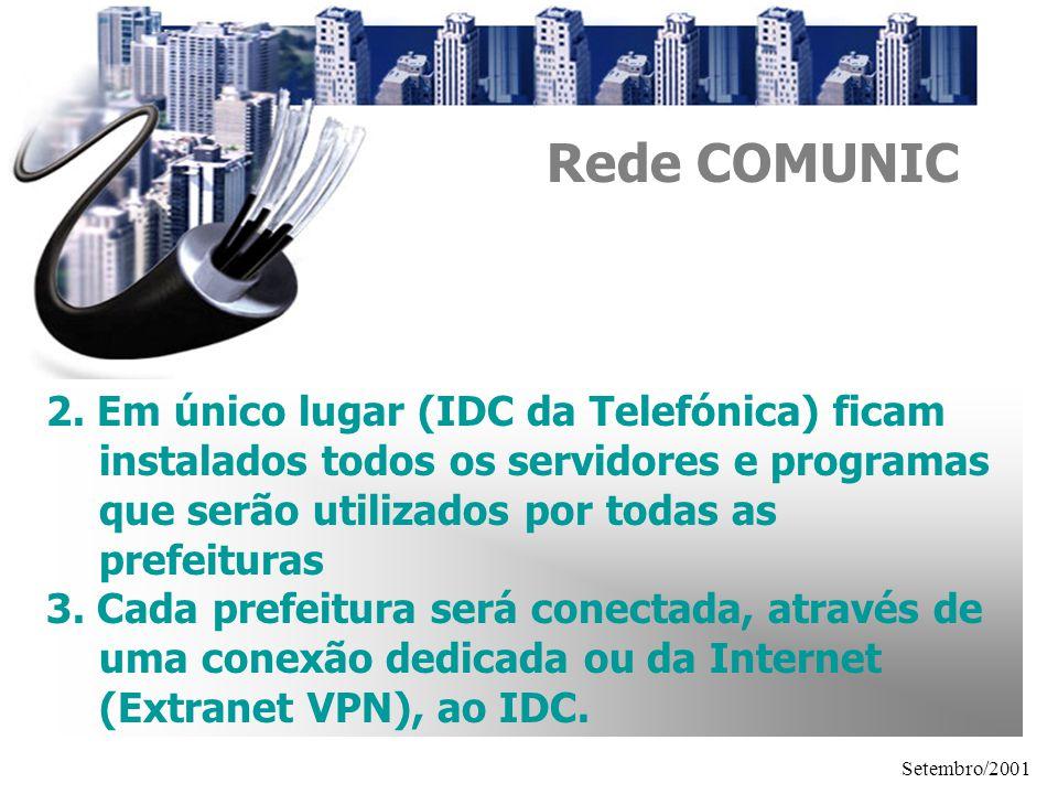 Rede COMUNIC 2. Em único lugar (IDC da Telefónica) ficam instalados todos os servidores e programas que serão utilizados por todas as prefeituras.