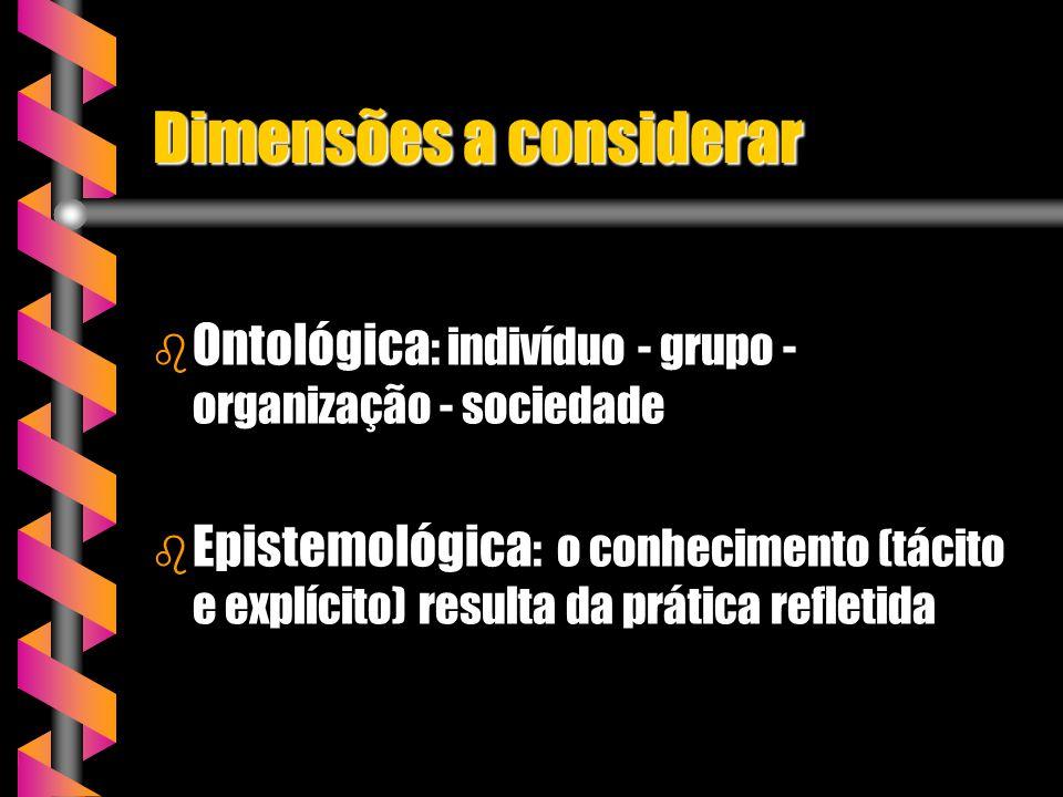 Dimensões a considerar