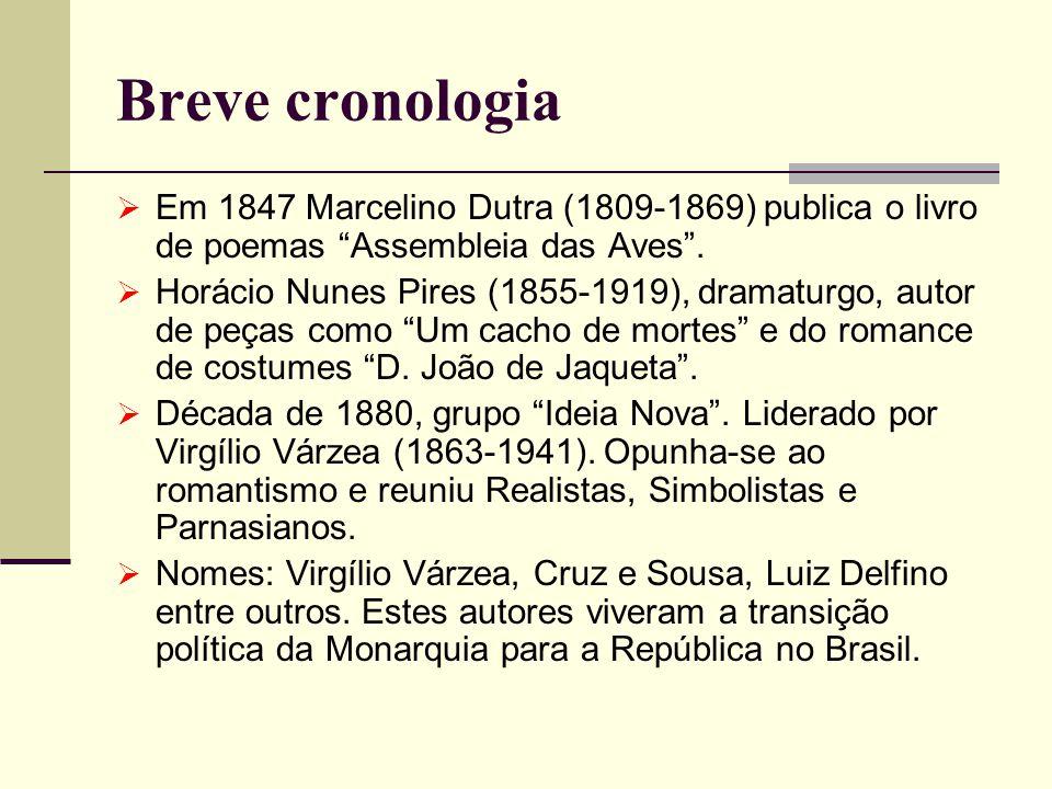 Breve cronologia Em 1847 Marcelino Dutra (1809-1869) publica o livro de poemas Assembleia das Aves .
