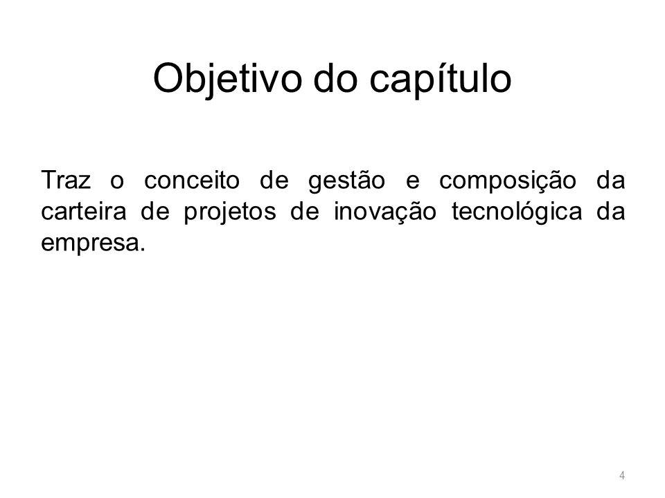 Objetivo do capítulo Traz o conceito de gestão e composição da carteira de projetos de inovação tecnológica da empresa.