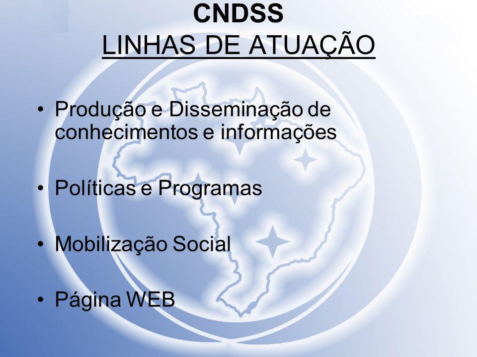 CNDSS LINHAS DE ATUAÇÃO