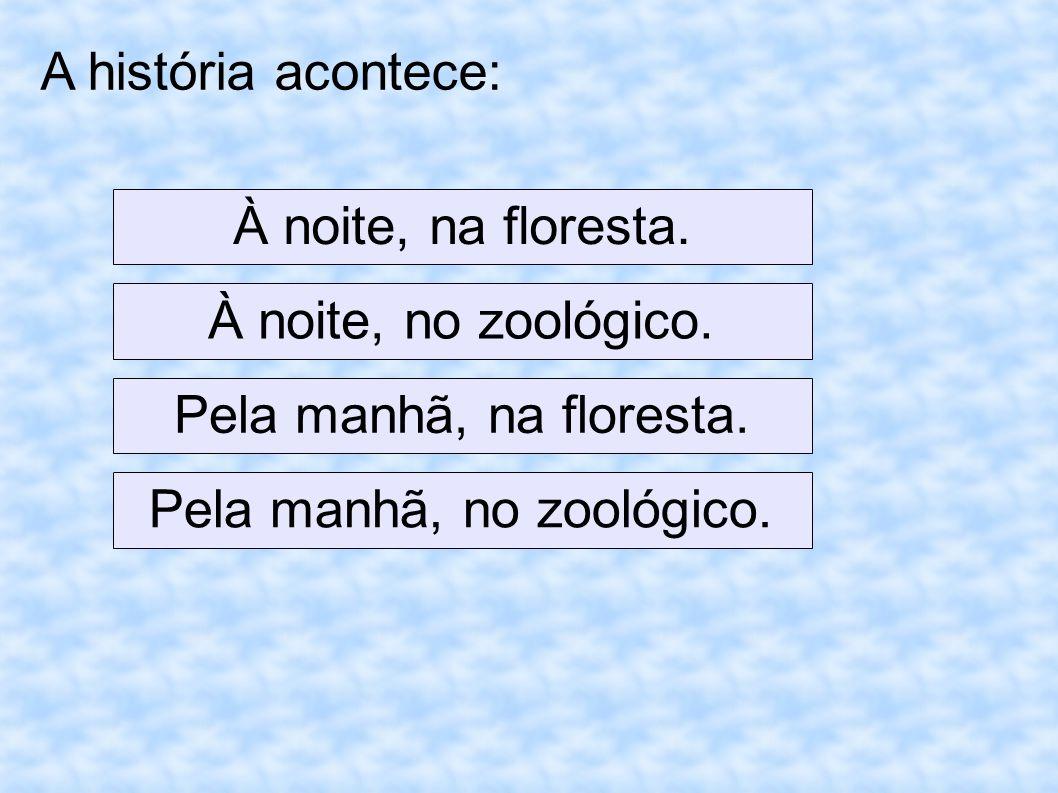 A história acontece: À noite, na floresta. À noite, no zoológico.