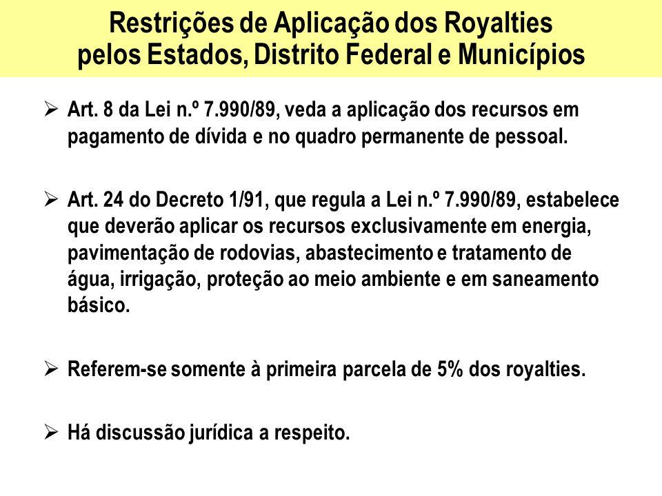 Restrições de Aplicação dos Royalties pelos Estados, Distrito Federal e Municípios
