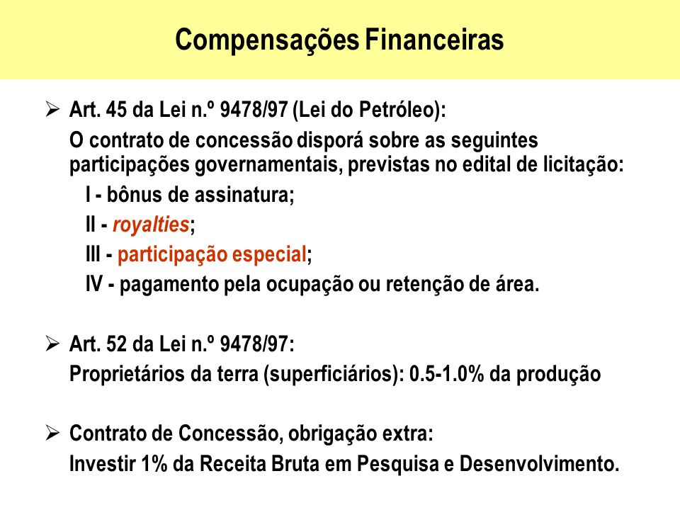 Compensações Financeiras
