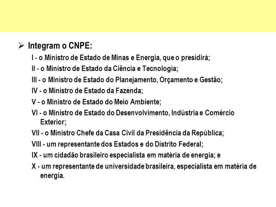 Integram o CNPE: I - o Ministro de Estado de Minas e Energia, que o presidirá; II - o Ministro de Estado da Ciência e Tecnologia;