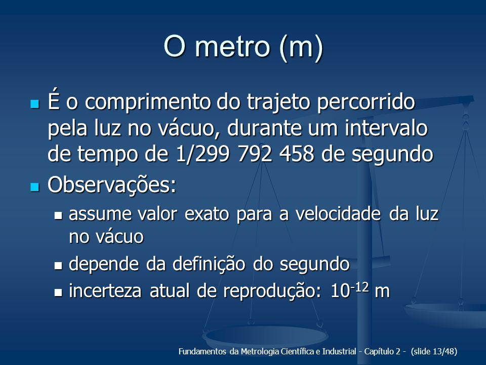 O metro (m) É o comprimento do trajeto percorrido pela luz no vácuo, durante um intervalo de tempo de 1/299 792 458 de segundo.