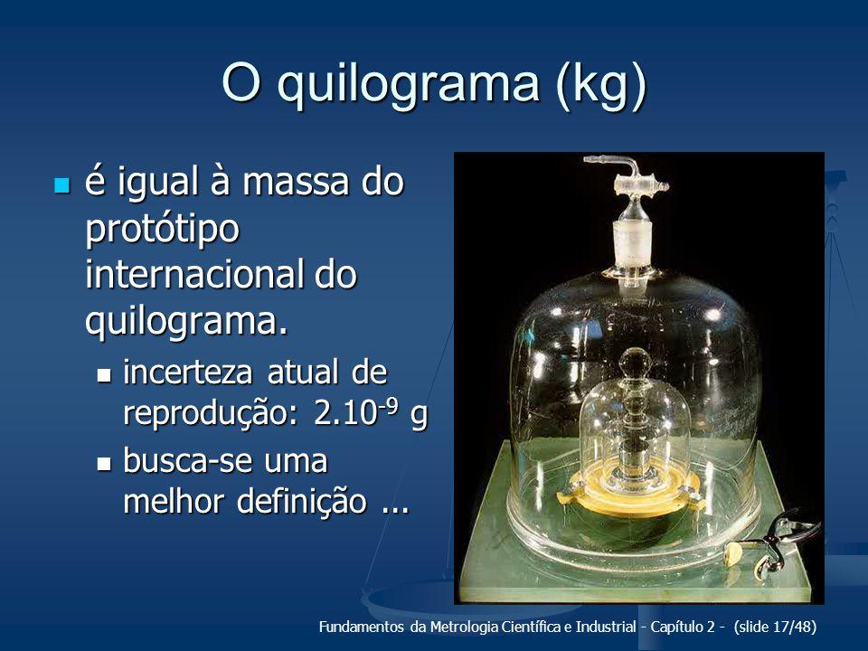 O quilograma (kg) é igual à massa do protótipo internacional do quilograma. incerteza atual de reprodução: 2.10-9 g.