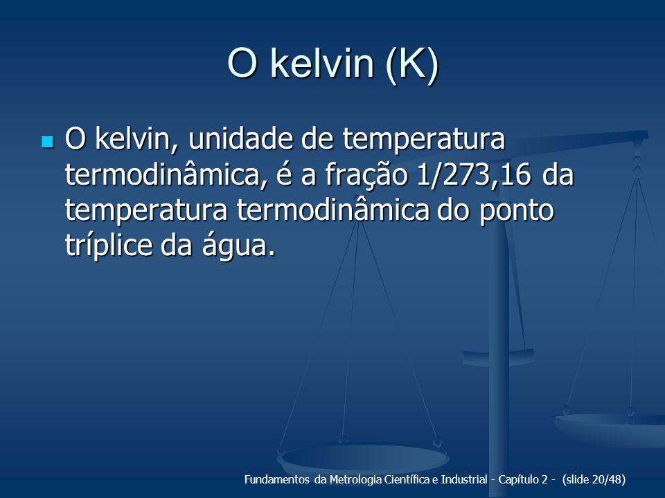 O kelvin (K) O kelvin, unidade de temperatura termodinâmica, é a fração 1/273,16 da temperatura termodinâmica do ponto tríplice da água.