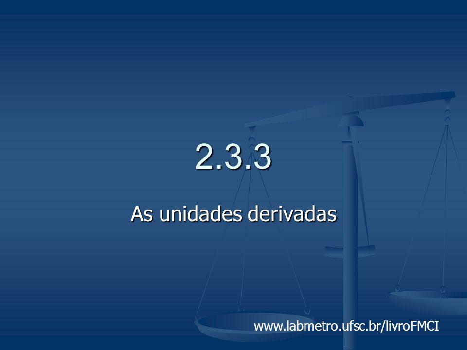 2.3.3 As unidades derivadas