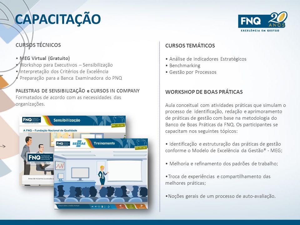CAPACITAÇÃO CURSOS TÉCNICOS CURSOS TEMÁTICOS WORKSHOP DE BOAS PRÁTICAS