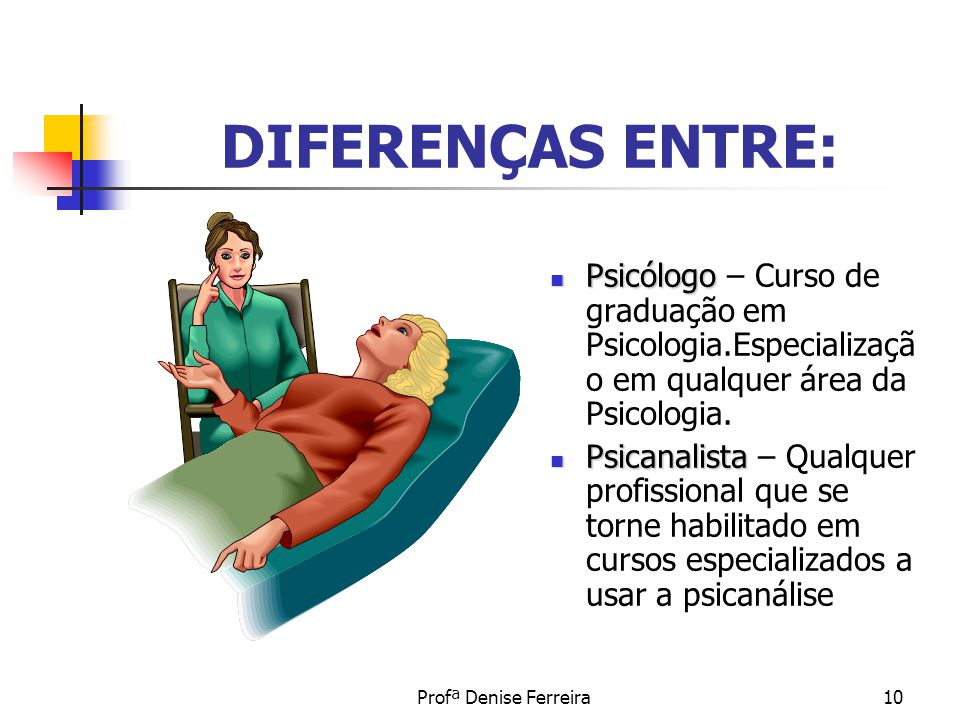DIFERENÇAS ENTRE: Psicólogo – Curso de graduação em Psicologia.Especialização em qualquer área da Psicologia.