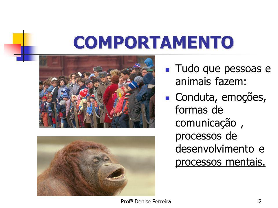 COMPORTAMENTO Tudo que pessoas e animais fazem:
