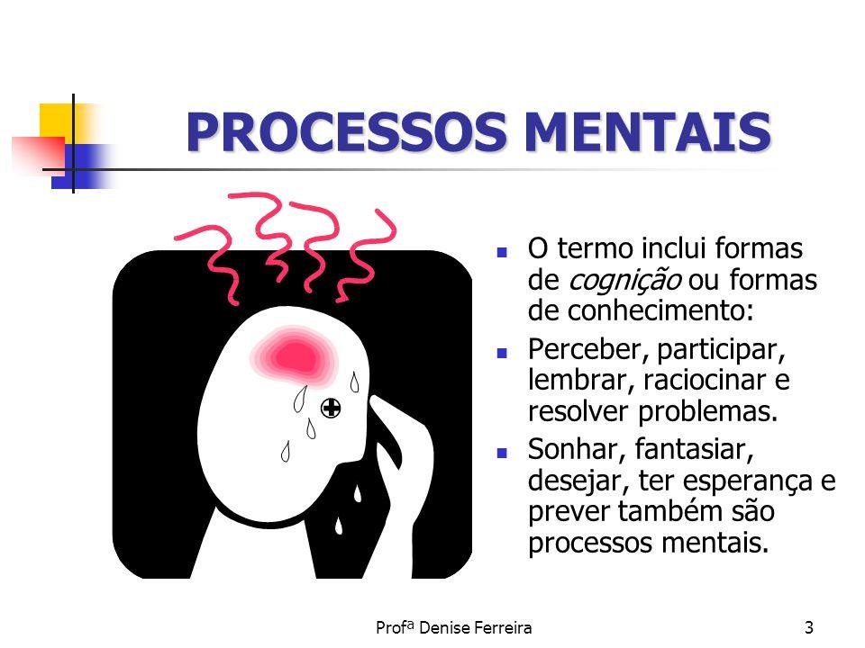 PROCESSOS MENTAIS O termo inclui formas de cognição ou formas de conhecimento: Perceber, participar, lembrar, raciocinar e resolver problemas.